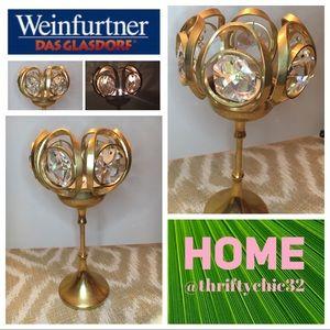 Weinfurtner 24k Gold & Crystal Candleholder